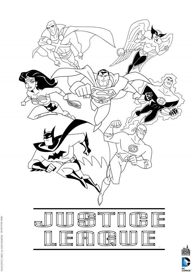 Coloriage super héros La Ligue Des Justiciers, Flash, Batman