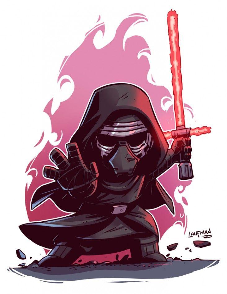 Star wars le r veil de la force dessiner kylo ren rey finn et poe dameron en chibi - Coloriage mini force ...