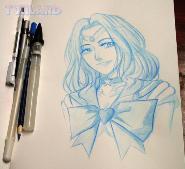 crayon aquarelle bleu
