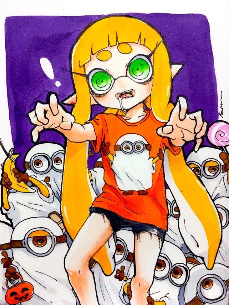 Coloriage halloween dessin splatoon x les minions aux feutres copic - Comment colorier un manga ...