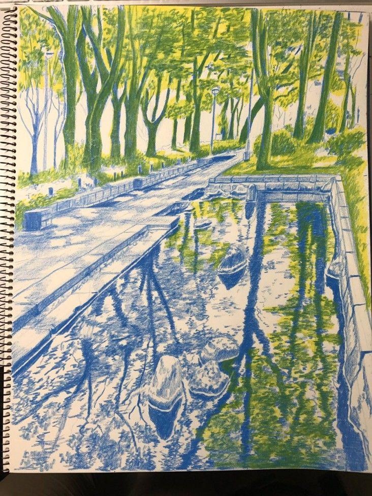 Dessiner un paysage aux crayons de couleurs nagoya city - Dessiner un paysage ...