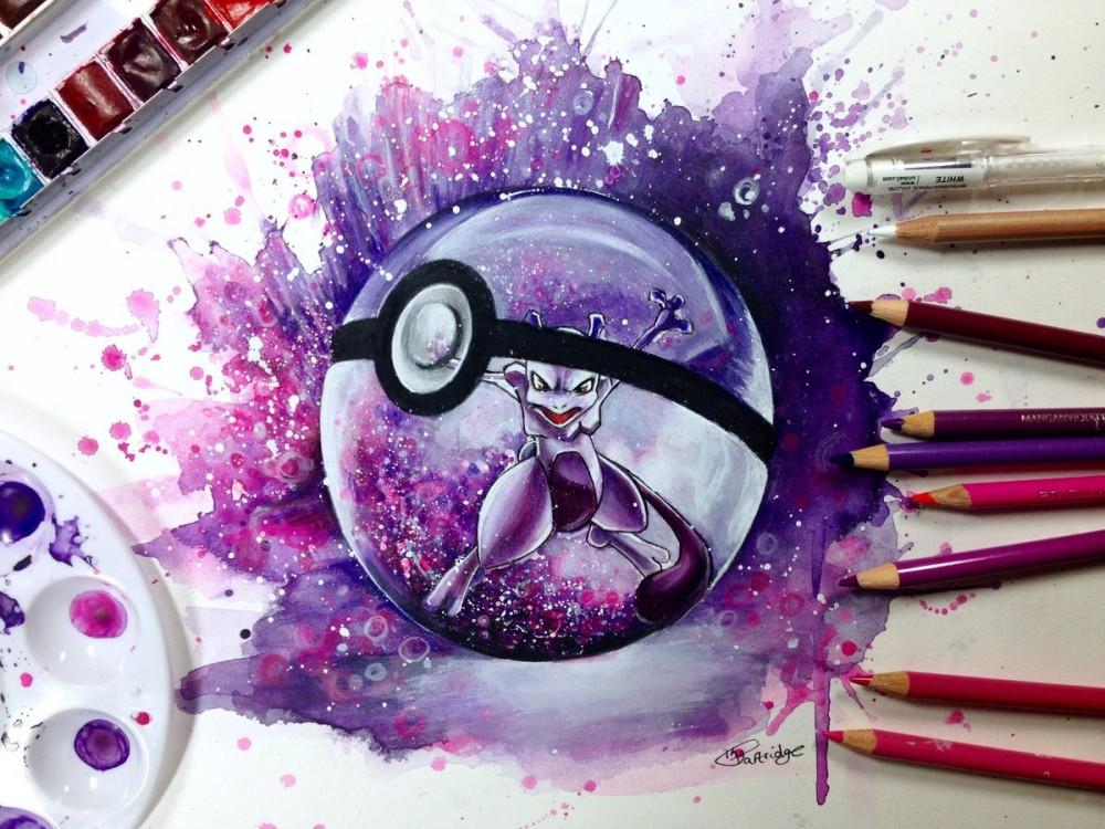 Dessiner pokemon go super effet de mewtwo l 39 aquarelle et crayons de couleurs - Dessiner pokemon ...