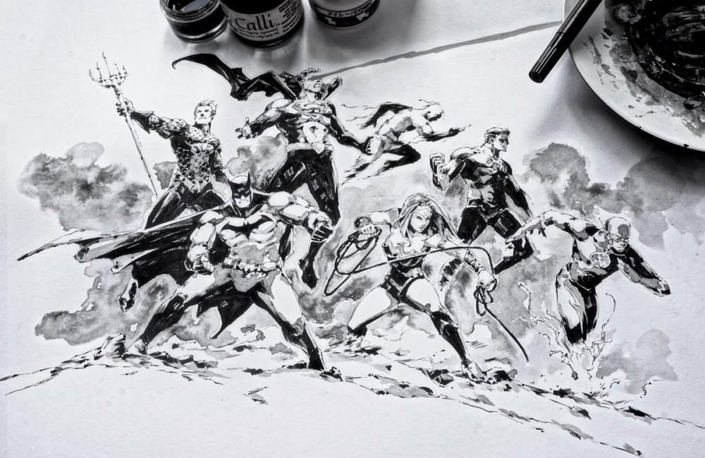 Dessin encrage de la justice league de dc comics - Comics dessin ...