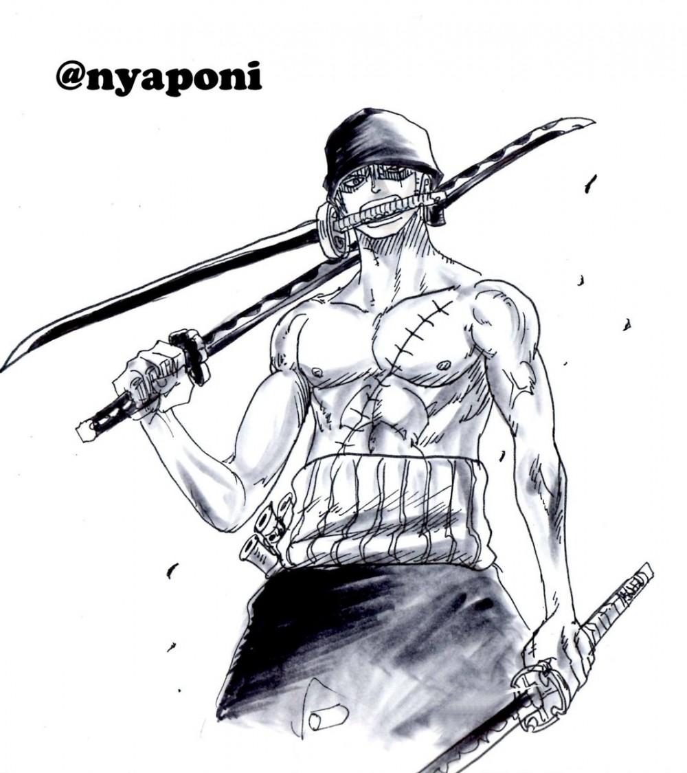 One piece apprendre dessiner roronoa zoro avec nyaponi - Zoro one piece dessin ...