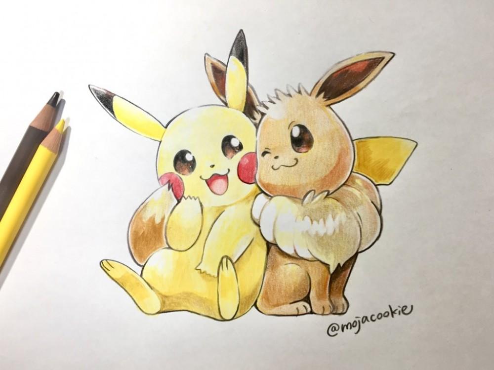 Coloriage Pokemon Pikachu Et Evoli.Pokemon Let S Go Dessin De Pikachu Et Evoli Au Crayon De Couleur