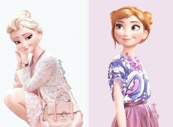 Les princesses anna et elsa la reine des neiges en tenues - Princesse anna reine des neiges ...