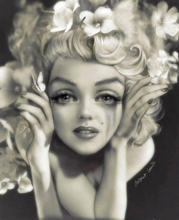 Dessin Marilyn Monroe par <b>ANTONIO LORENTE</b>. - 54f83619461ab