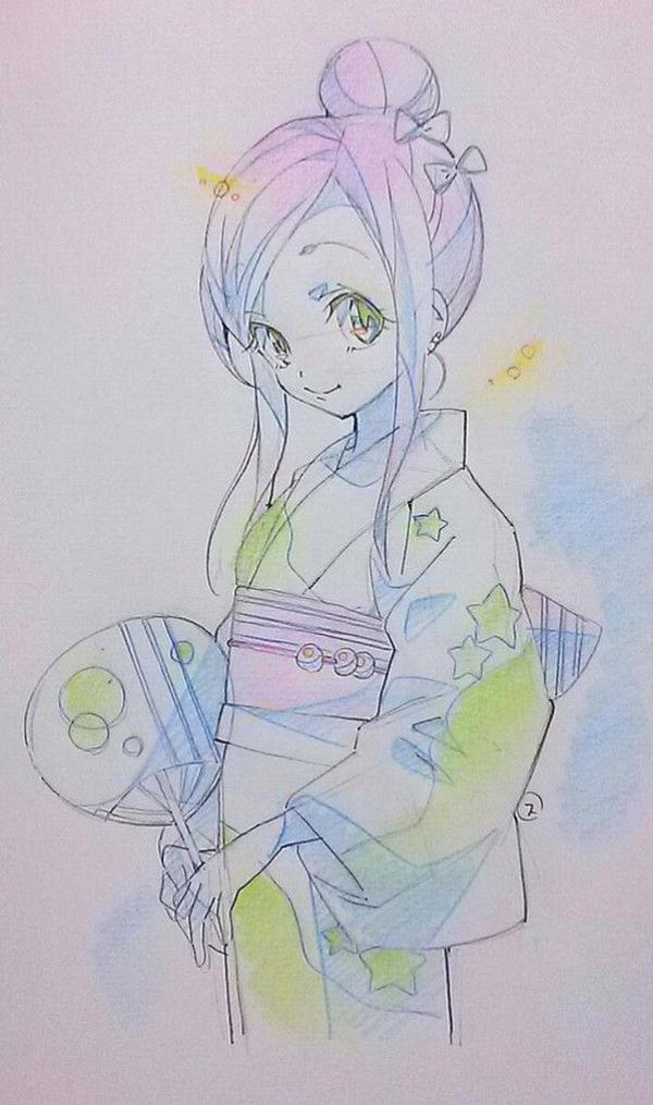Dessin Crayons De Couleurs Fille Japonaise Kimono A Href Http