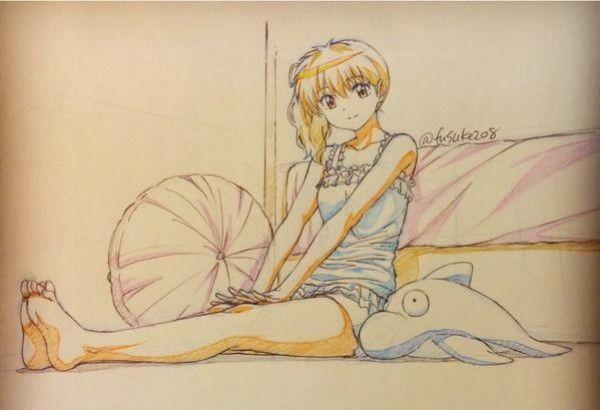 tvhland dessin fille aux crayons de couleurs par fusuke208. Black Bedroom Furniture Sets. Home Design Ideas