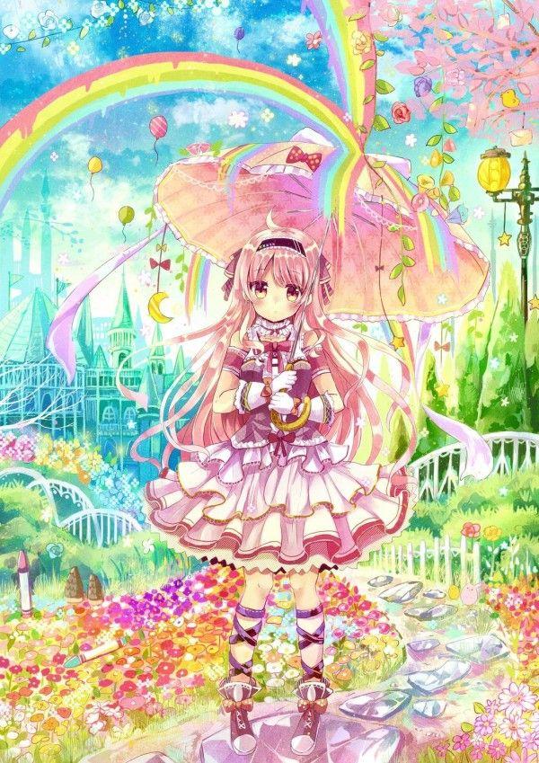 Tvhland Dessin Fille Parapluie Kawaii Moe Lolita