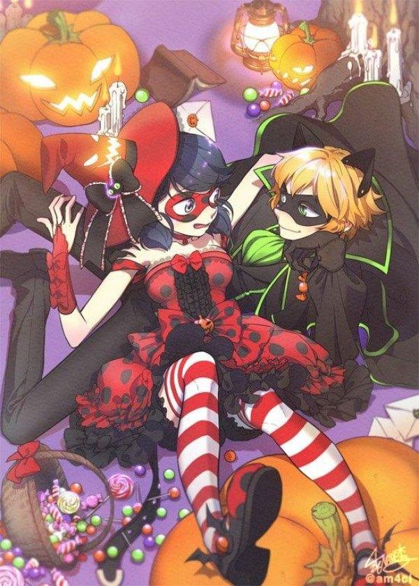 Dessin Fanart Miraculous Ladybug Chat Noir Halloween Par Am4ci