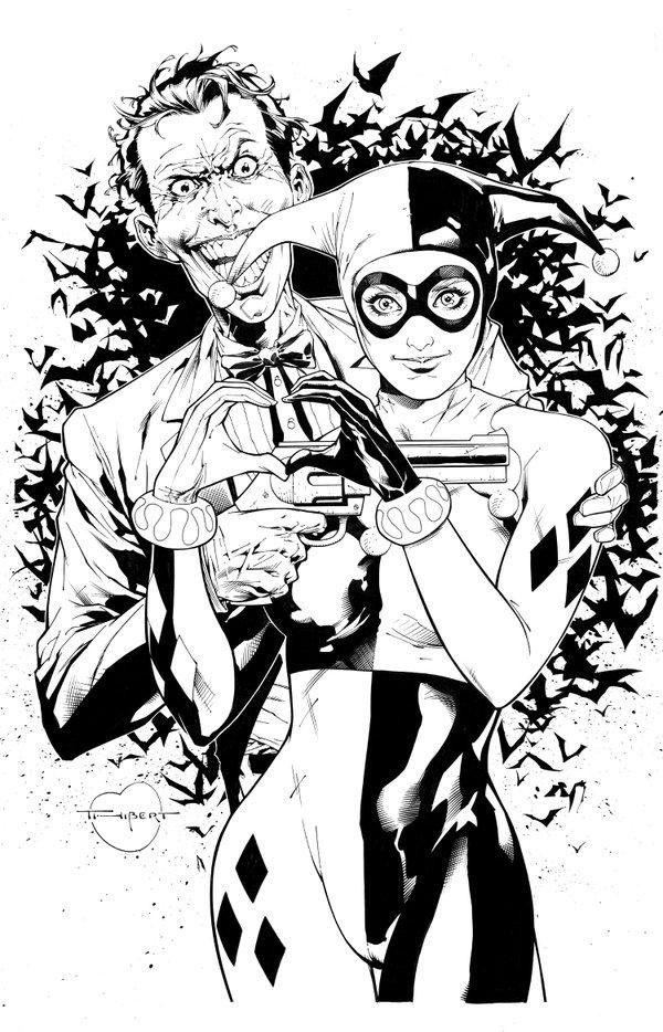 Dessin illustration Joker Harley Quinn par Art Thibert...