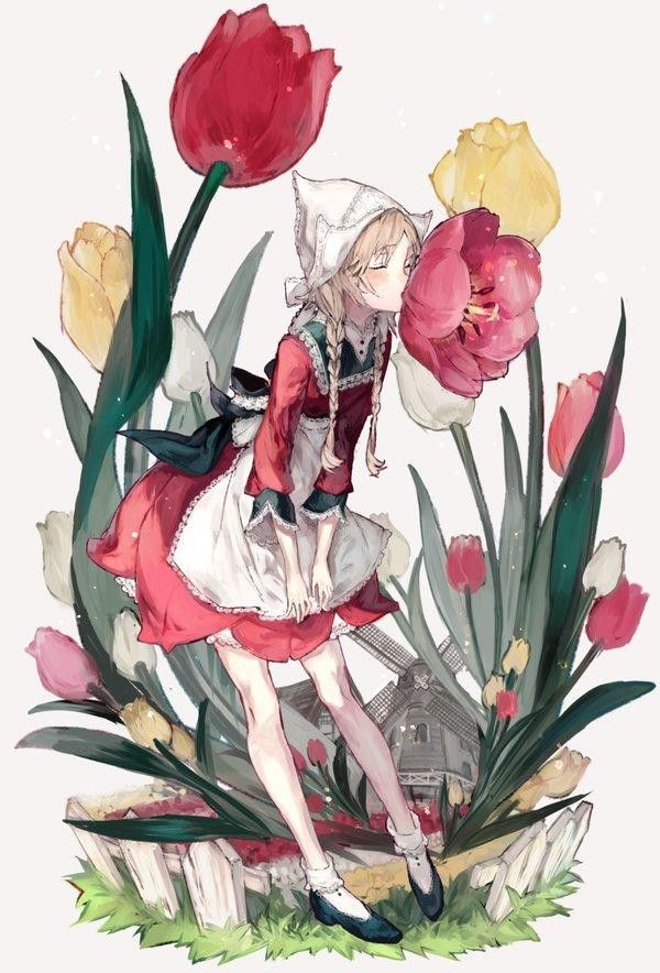 Hollande pays bas fleur tulipe moulin dessin de ozyako - Tulipe a dessiner ...