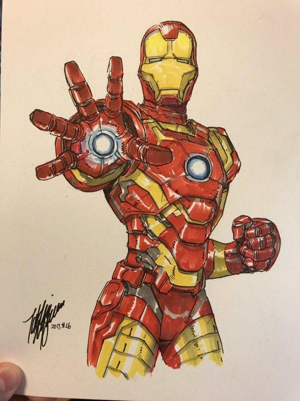 Iron man marvel dessin takeshi miyazawa feutre - Iron man en dessin anime ...