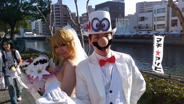 Super mario odyssey nintendo switch cosplay mariage mari e princesse peach geek - Comment dessiner peach ...