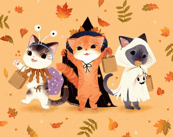 Halloween chats kawaii dessin olivia chin mueller - Dessin de chat kawaii ...