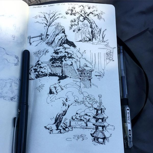 Jardins Japonais Dessin Will Murai Fude Pen Pocket Brush