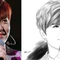 Dessin portrait du chanteur Lee Min Ho