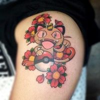 Jolie tatouage Miaouss #Pokemon