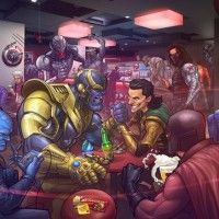 Univers marvel dans un bar vu par Patrick Brown