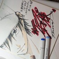 Prince of Tennis dessin sur shikishi du mangaka Takeshi Konomi coloriage feutre copic sketch