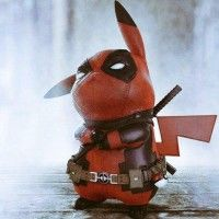Pikachu se cosplay en Deadpool Pokemon