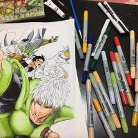 Dragon Ball One Punch Man dessin dragongarowLEE feutre Copic Ciao