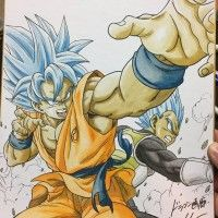 super dessin sur shikishi Dragon Ball Son Goku Vegeta par dragongarowLEE