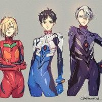 Yuri On Ice en Evangelion dessin whitemop_jog