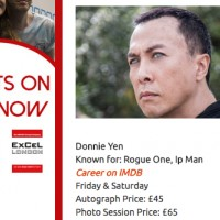 Donnie Yen l'acteur de Ip Man, Chirrut Îmwe dans Rogue One: A Star Wars Story était invité à MCM London Comic Con 2017