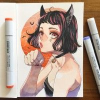fille chat Dessin YukieTAJIMA feutre à alcool Copic Sketch