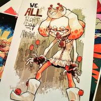 #Halloween #Splatoon en clown #Ça #Pennywise #Grippesou #Dessin #Fanart Krooked_Glasses #JeuxVideo