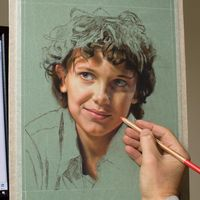 Stranger Things Millie Bobby Brown portrait dessin Dave Porter crayon pastel