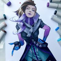 #Overwatch #Sombra #Dessin #Fanart Reyhan #Feutre #Copic sketch #Colorisation #JeuVideo