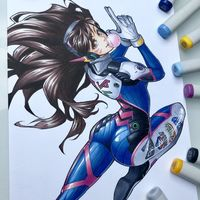 #Overwatch #DVa #Dessin Reyhans #Feutre #Copic Sketch #Colorisation #JeuVideo