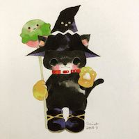 #Dessin #Halloween #Chat #Sorcier #Kawaii - Artist : くぼもと ひろみ - twitter : @Hiromikubomoto #Animaux