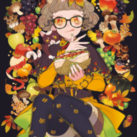 #Dessin #Fille #Automne #Fruit #Sandwich #Lunette #Chat - Artiste : maruco - Twitter : @marucoism