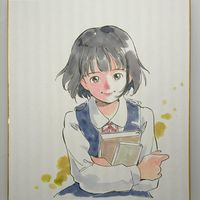 #Dessin sur #Shikishi #Fille - Artiste : きゅっきゅぽん - Twitter : @kyukkyupon #DessinSurShikishi #Manga