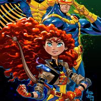 Princesse Disney Rebelle Merida X-Men Cyclope Banshee dessin Marcus William comic