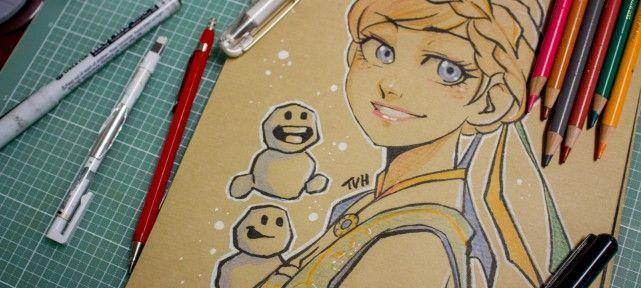 Dessinons elsa de la reine des neiges sur papier kraft - Comment dessiner elsa ...