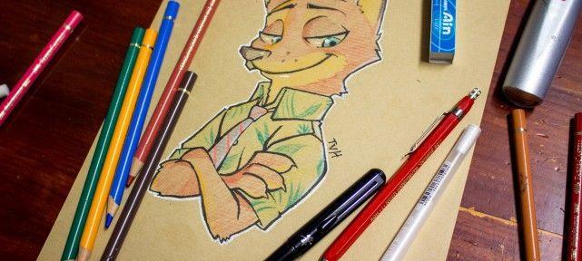 comment-dessiner-nick-wilde-papier-kraft-zootopie