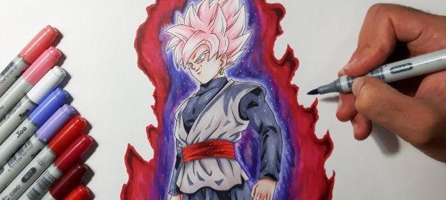 dessiner-dragon-ball-super-black-goku-transforme-en-super-saiyan-rose