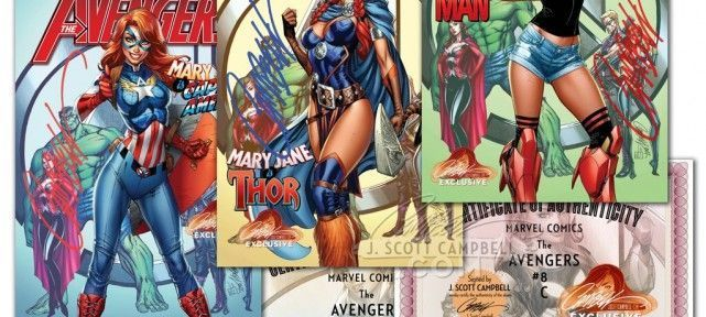 Avengers : Covers Mary Jane en Captain America, Thor, Iron Man par J Scott Campbell !