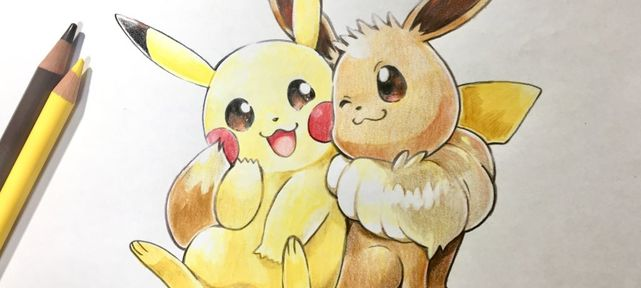 pokemon-let-go-dessin-pikachu-et-evoli-crayon-couleur-mojacookie