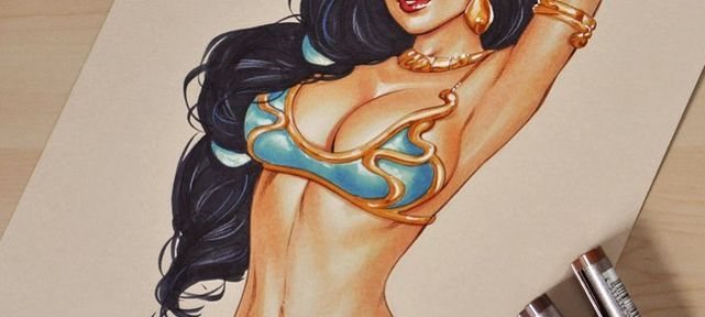 video-dessin-princesse-jasmine-aladdin-sexy-en-bikini-feutre-copic