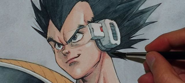 dragon-ball-dessin-vegeta-aquarelle-hector-trunnec