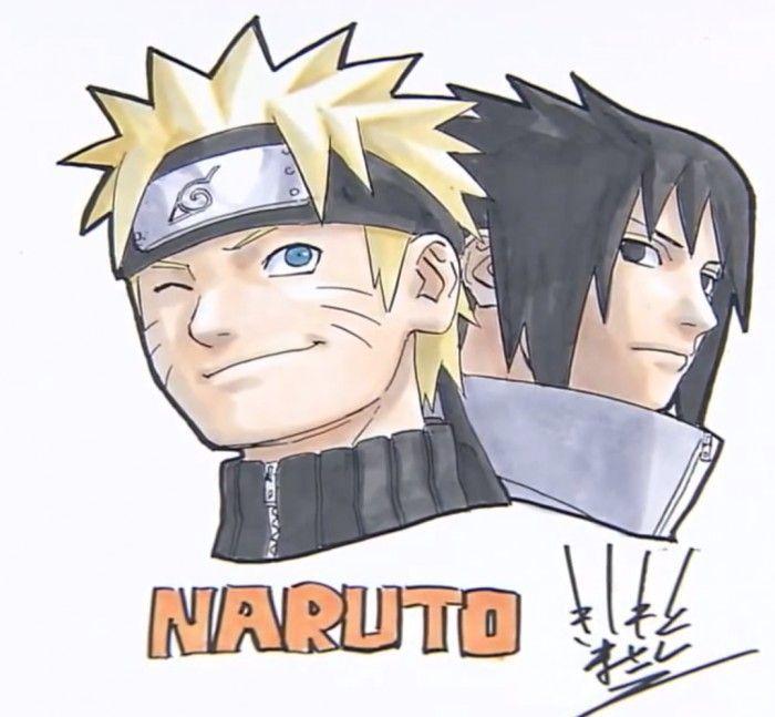Superbe dessin de sasuke et naruto par masashi kishimoto - Comment dessiner sasuke ...