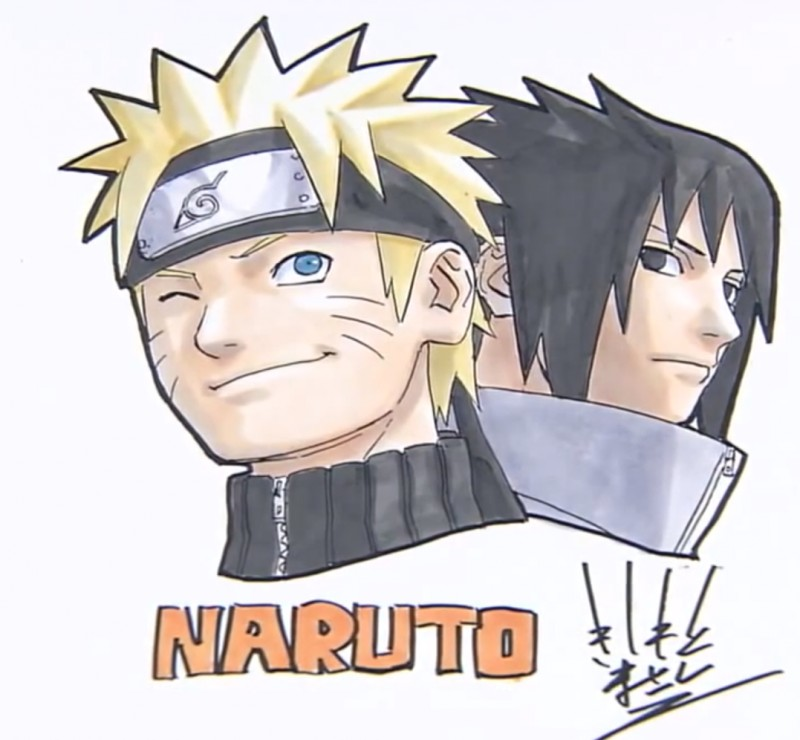 Superbe Dessin De Sasuke Et Naruto Par Masashi Kishimoto