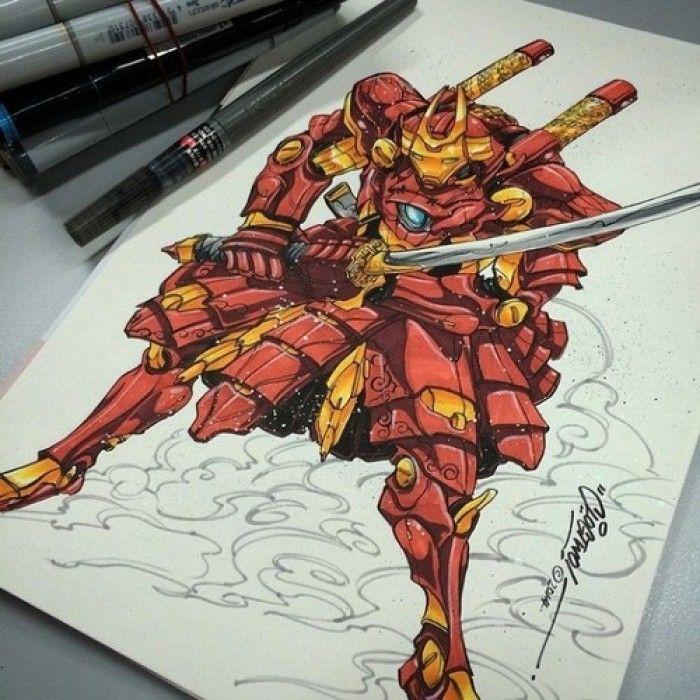 Iron man en armure de samourai - Dessin armure ...