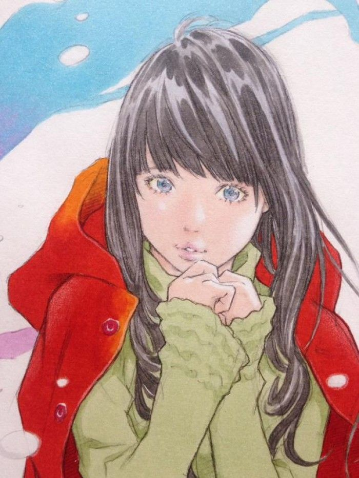 Coloriage fille en manteau aux feutres COPIC